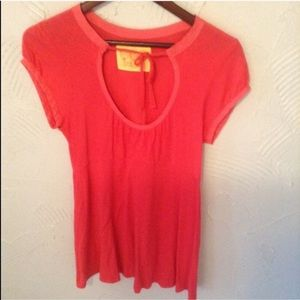 Women's Free People Coral Pink Keyhole Top
